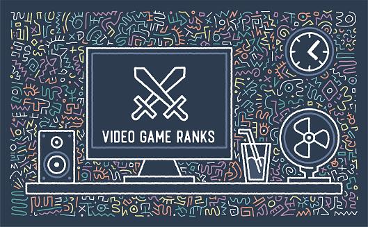 Video Game Ranks Vector Doodle Design