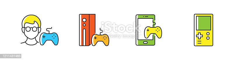 Video Game Related Vector Flat Line Icons. Outline Symbol Collection