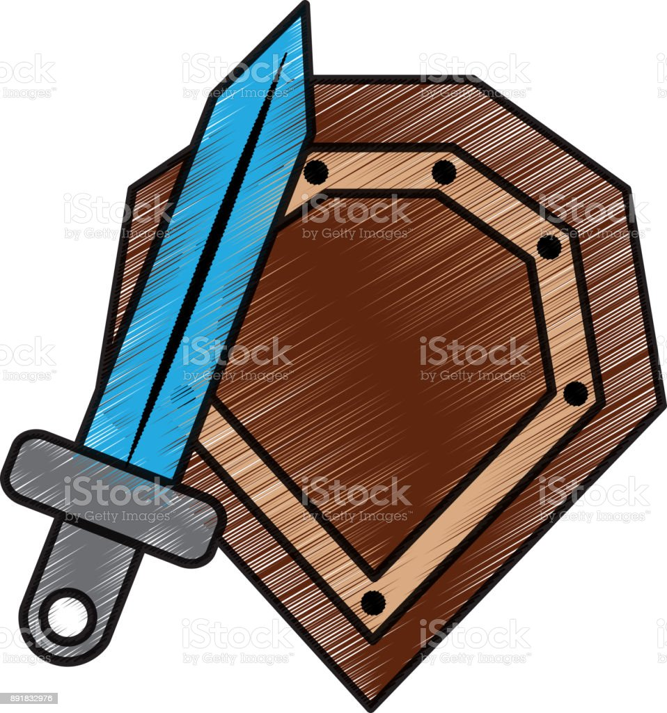 video game shield and sword items vector art illustration