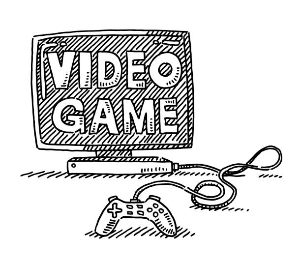 Video Game Symbol Drawing Hand-drawn vector drawing of a Video Game Symbol. Black-and-White sketch on a transparent background (.eps-file). Included files are EPS (v10) and Hi-Res JPG. game stock illustrations