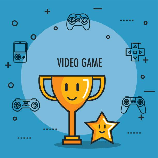 video game trophy and star award button icons video game trophy and star award button icons vector illustration bonus march stock illustrations