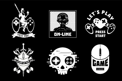 Video game vector emblem set. Gamer retro style signs collection. Cyber sport team insignia.