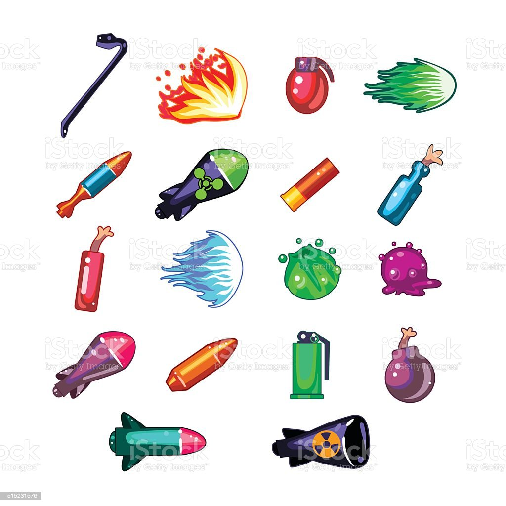 Video Game Weapon Collection vector art illustration