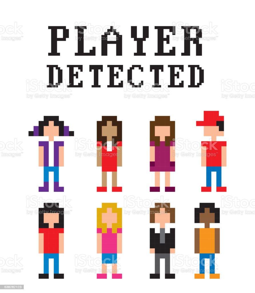 video gamers vector art illustration