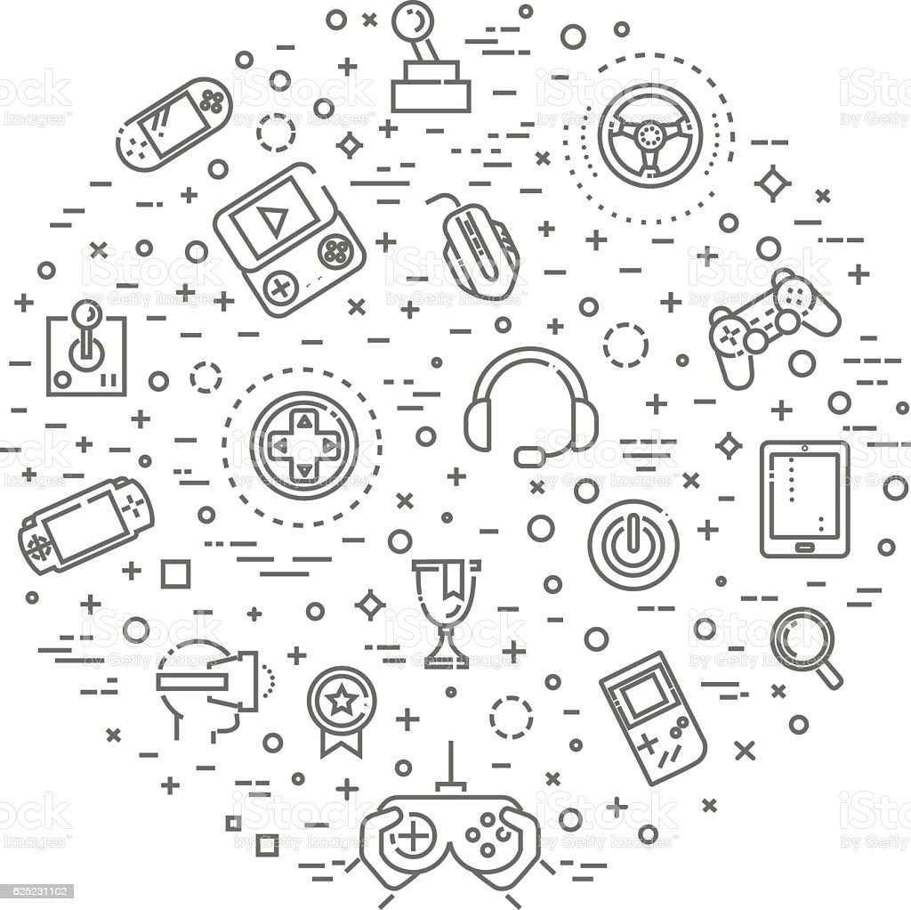 Video games icons, simple and thin line design vector art illustration