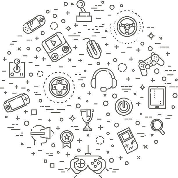 Video games icons, simple and thin line design – Vektorgrafik