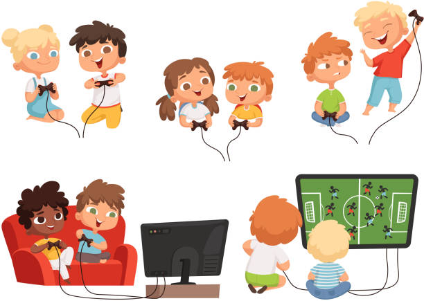 ilustrações de stock, clip art, desenhos animados e ícones de video games kids. console gaming children playing together with joystick controllers home television fun vector characters - man joystick