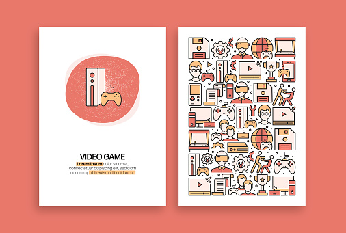 Video Games Related Design. Modern Vector Templates for Brochure, Cover, Flyer and Annual Report.