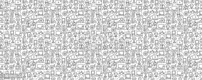 Video Games Related Seamless Pattern and Background with Line Icons