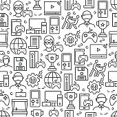 istock Video Games Related Seamless Pattern and Background with Line Icons 1205776971