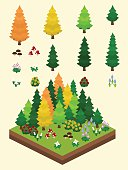 Video Game-Type Isometric Autumn Boreal Forest Set