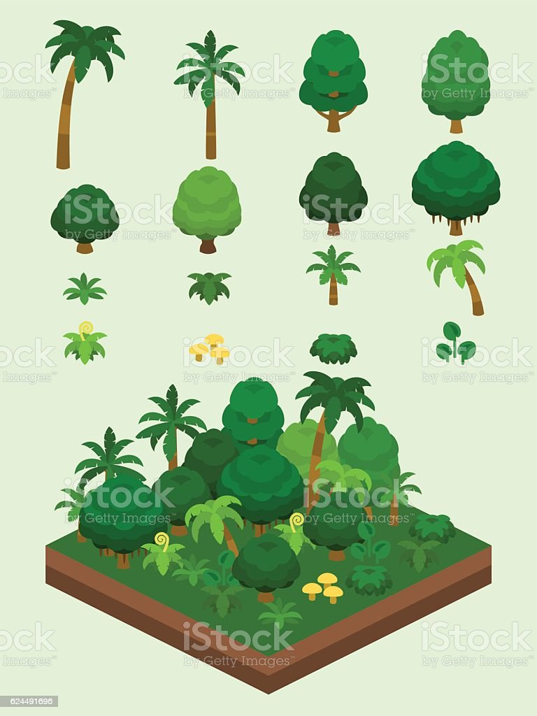 Video Game-Type Isometric Rainforest Set