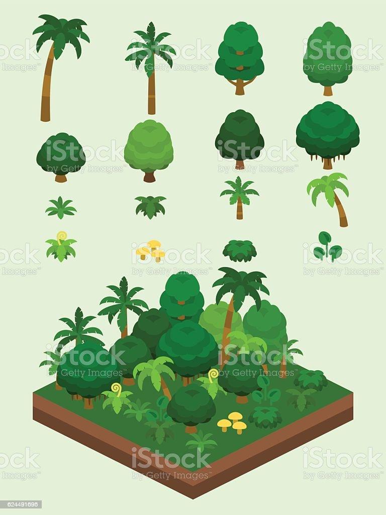 Video Game-Type Isometric Rainforest Set vector art illustration