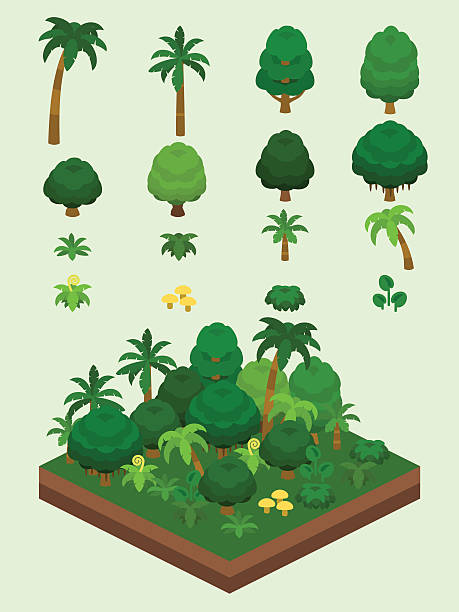 video game-type isometric rainforest set - palm tree stock illustrations