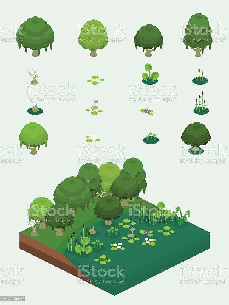 Video Game-Type Isometric Swamp Plants Set vector art illustration