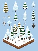Video Game-Type Isometric Winter Boreal Forest Set