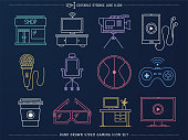 Elegant and minimal hand-drawn line icons set of video gaming. Would be perfect vector illustration for those looking to design drawings or sketches for mobile applications, web pages, stationery, cards and more.
