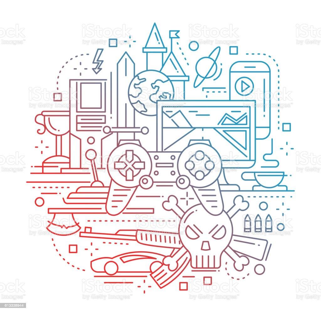 Video Gaming - line design composition vector art illustration