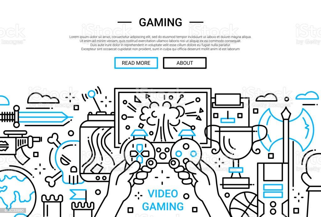 Video Gaming - line design website banner vector art illustration