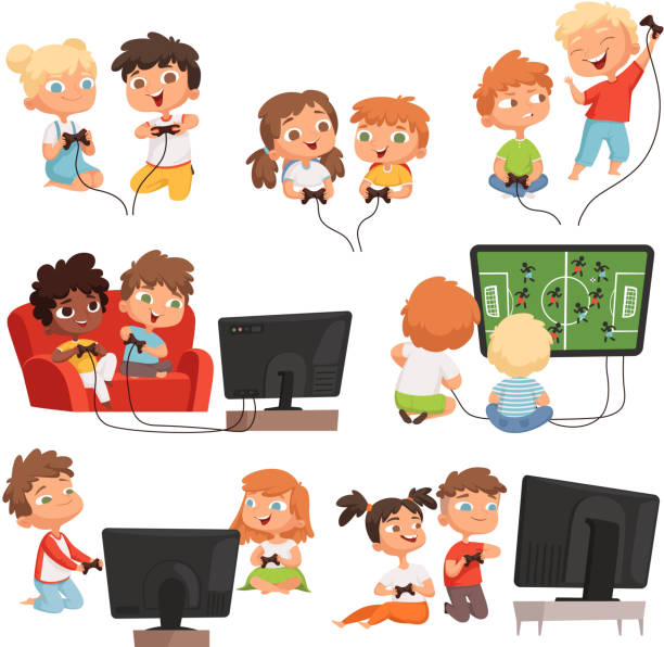 ilustrações de stock, clip art, desenhos animados e ícones de video gaming. peoples kids boys and girls console videogaming with controllers joystick gamepad funny vector childrens - man joystick