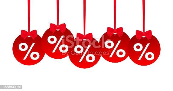 istock Video hangtags Sale red percent. Vector illustration. 1338900269