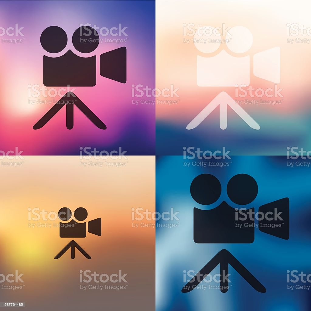 video icon on blurred background vector art illustration