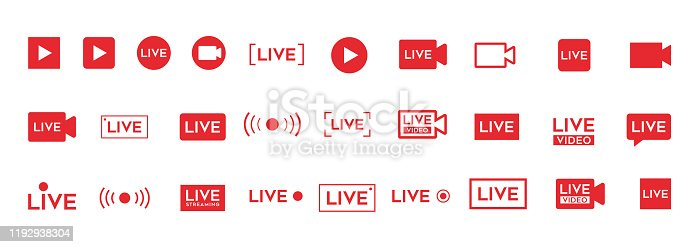 New LIVE video icon. Red broadcast button set.