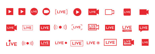 LIVE video icon. Red broadcast button set New LIVE video icon. Red broadcast button set. broadcasting stock illustrations