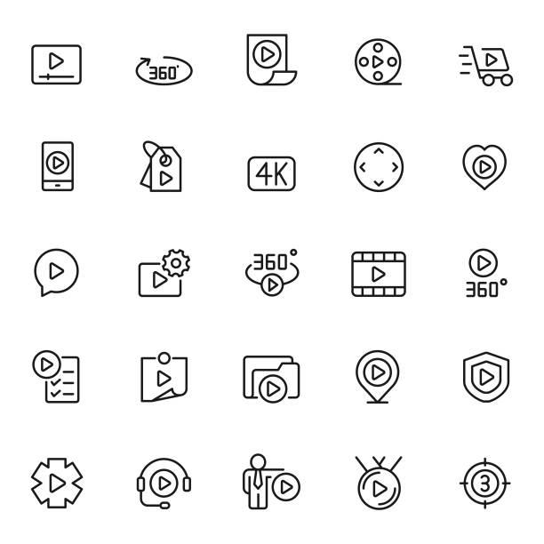 ilustraciones, imágenes clip art, dibujos animados e iconos de stock de conjunto de icono de video - 360