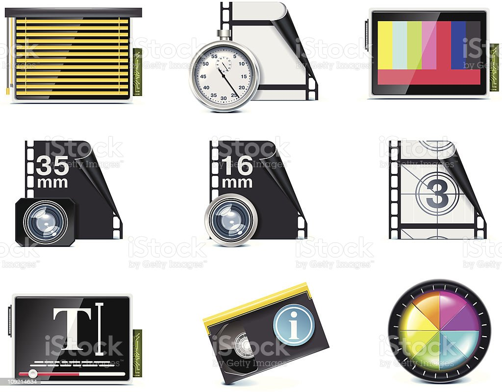 Video icon set vector art illustration