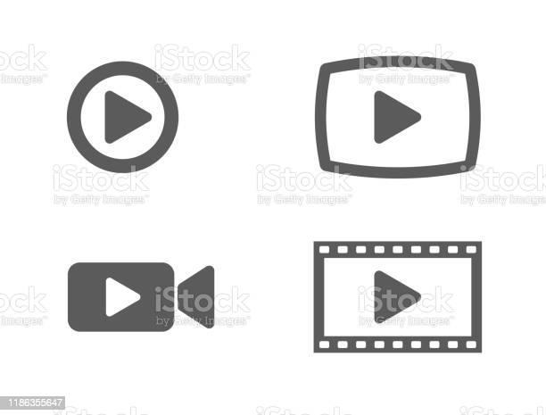 Video Icons And Buttons - Immagini vettoriali stock e altre immagini di Applicazione mobile
