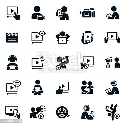 A set of video icons. The icons include people streaming video content on a tablet pc, smartphone, television and computer. The stremed content includes a singer and other forms of entertainment. Also included is a video camera, clapper board and film reel.