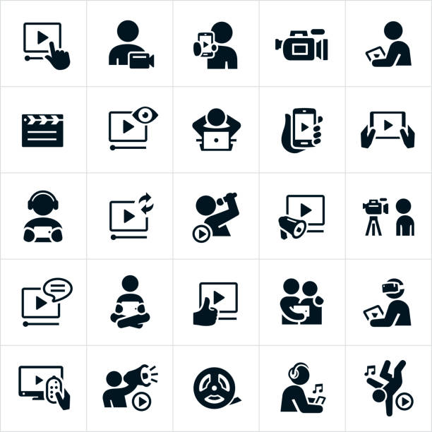 illustrazioni stock, clip art, cartoni animati e icone di tendenza di icone video - video call
