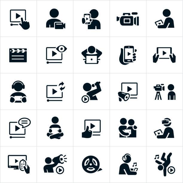 illustrazioni stock, clip art, cartoni animati e icone di tendenza di video icons - video call