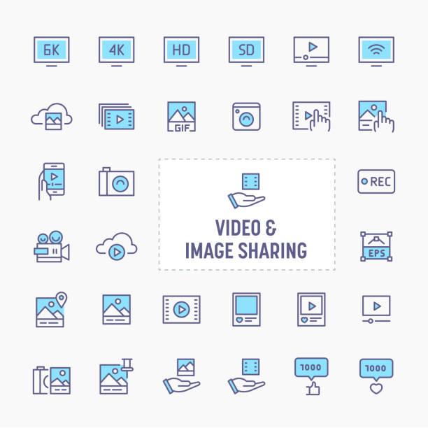 비디오 및 이미지 공유 아이콘 설정 - gif stock illustrations