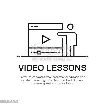 Video Lessons Vector Line Icon - Simple Thin Line Icon, Premium Quality Design Element