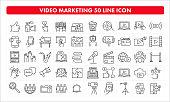 Video Marketing 50 Line Icon