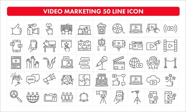illustrazioni stock, clip art, cartoni animati e icone di tendenza di icona della linea video marketing 50 - video call