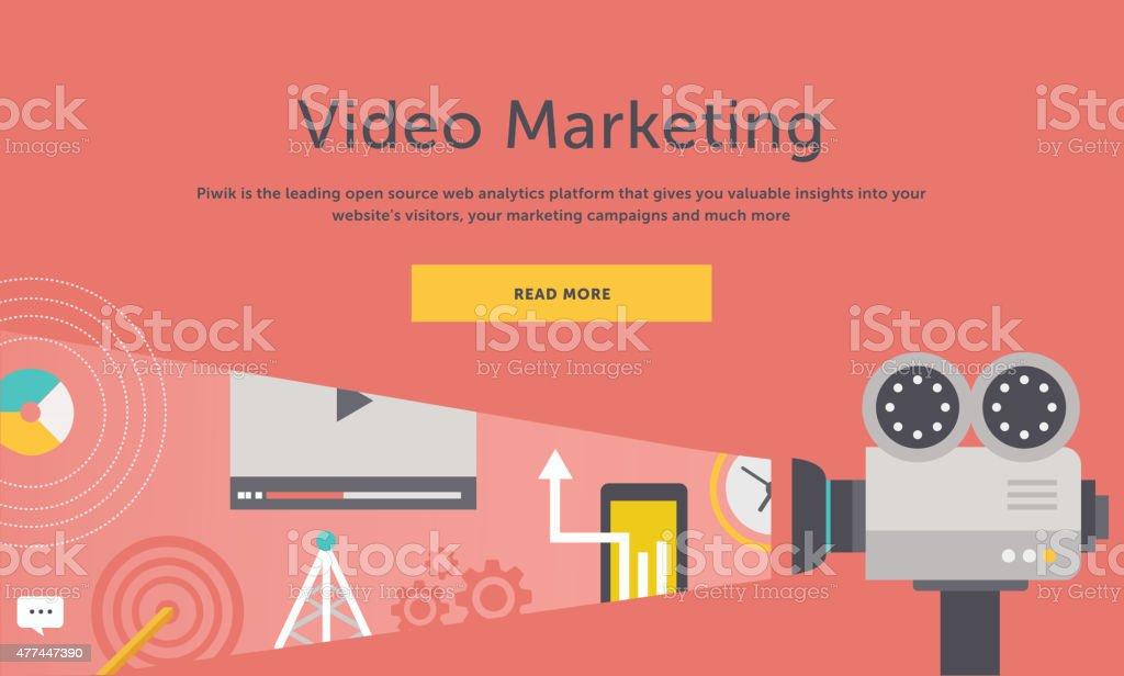Video Marketing. Concept for Banner, Presentation vector art illustration