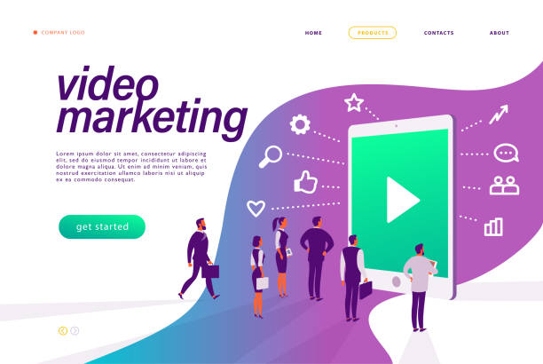ilustrações, clipart, desenhos animados e ícones de conceito de videomarketing. pessoas na metáfora de tablets, vídeo, mídia, pesquisa, comunicação, revisão, ícones de negócios. - mobile