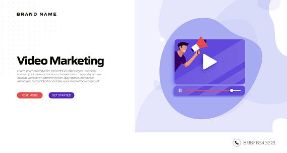 Video Marketing Concept Vector Illustration for Website Banner, Advertisement and Marketing Material, Online Advertising, Business Presentation etc.