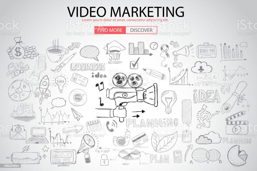 の動画マーケティングの概念に落書きデザインスタイル: ベクターアートイラスト