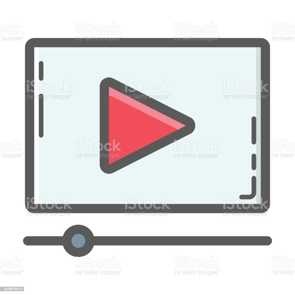 Video Marketing filled outline icon, seo and development, play sign vector graphics, a colorful line pattern on a white background, eps 10. vector art illustration