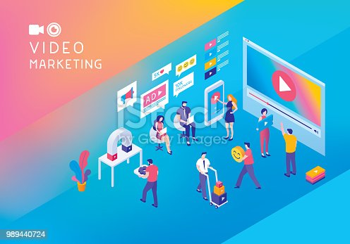 istock Video marketing isometric concept 989440724