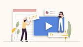 istock Video Marketing Related Vector Illustration. Flat Modern Design 1200961818