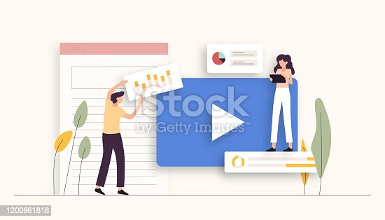 istock Video Marketing Related Vector Illustration. Flat Modern Design 1200961818