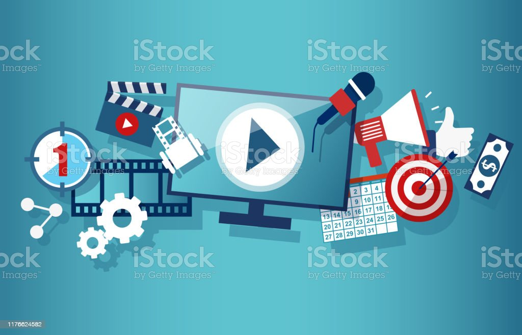 Video marketing social media and advertisement concept template with...