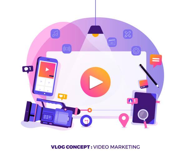 stockillustraties, clipart, cartoons en iconen met vlog video marketing - youtube