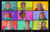 Video Meeting Character Icon set drawn in a fun, whimsical, characture or cartoon style, online learning, family at home, coronavirus