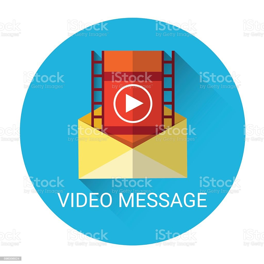 Video Message Mail Icon Flat Vector Illustration royalty-free video message mail icon flat vector illustration stock vector art & more images of business